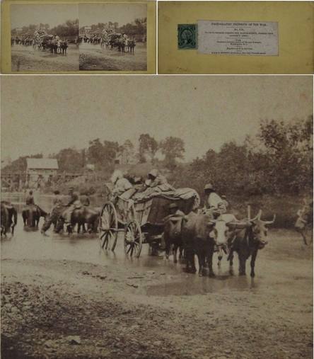 "African-American related, stereoview with tax stamp) Tim O'Sullivan pub by Anthony, #518 ""Fugitive Negroes fording the Rappahannock, fleeing from Jackson's Army."" (Image VG to VG+, even VG+ to Exc directly over the subjects, mt VG and with 3 cent Int Rev stamp) MB$350."